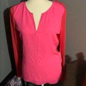 Elie Tahari vneck shirt pink red small